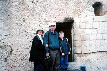 "Michael and family outside ""The Garden Tomb,"" a wonderful place for meditation just outside Jerusalem's walls. Could this have been the REAL empty tomb?"